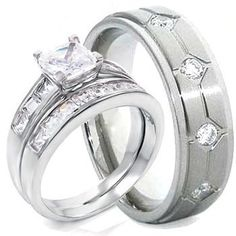 3 Pieces His & Hers, Sterling Silver Rhodium Plated & Titanium Matching Engagement Wedding Bridal Ring Set. 925
