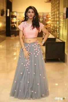 Telugu Television Actress Vishnu Priya Navel Hip Stills In Pink Lehenga Choli - Tollywood Stars Lehnga Dress, Lehenga Gown, Party Wear Lehenga, Pink Lehenga, Anarkali, Net Lehenga, Bridal Lehenga, Lehenga Choli Designs, Ethnic Outfits