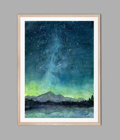 Starry Sky Print, Watercolor Painting Print, Starry Night Painting Print, Watercolor Sky, Landscape painting by 324art on Etsy https://www.etsy.com/listing/475075058/starry-sky-print-watercolor-painting