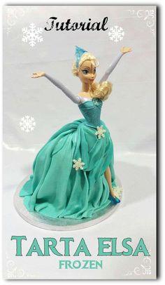 Tutorial tarta muñeca Elsa de Frozen. Kuki Box. Tartas y Galletas en Valencia #fondant #tarta #frozen #elsa #kukibox www.kukibox.com  Elsa frozen cake Doll