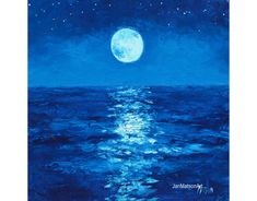 Moon painting, Sky and stars painting, Ocean painting, seascape, beach decor, original oil beach art by Jan Matson