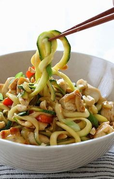 Kung Pao Chicken Zoodles For Two ~ This recipe for kung pao chicken creates a dish that is so utterly good you will love it from the first line!
