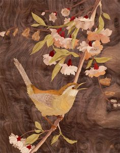 """Song Bird - Marquetry Art - GICLEE PRINT on archival matte paper - 8""""x10"""""""
