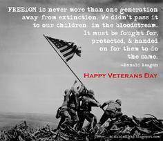Veteran's day, Ronald Regan quote.