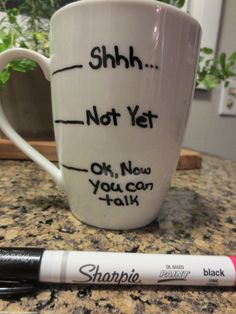 Sharpie mug - Use OIL BASED SHARPIE marker and let it dry for at least 8 hours then put in a cold oven, heat up to 375 degrees, bake for 45 minutes, turn oven off and let sit until cool... Then remove it.