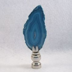 Geode Lamp Finial; Blue Agate Polished Stone