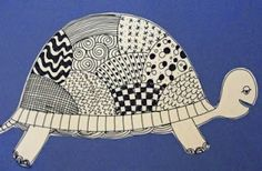 Line Drawing Art lessons: Turtles.  1. directed line drawing of turtle. 2. put LOTS of examples of line patterns on board, 3. Have kids fill in their turtle's shell!