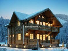 Визуализация проекта дома в стиле шале из бревна