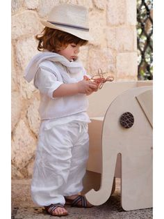 Linen outfit for baby boy's baptism