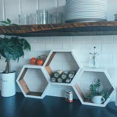White set of 3 honeycomb hexagon shelves by GrainsOfGrace on Etsy Diy Backsplash, Decor, Hexagon Shelves, Honeycomb Backsplash, Shelves, Backsplash Patterns, Hexagon Decor, Backsplash Designs, Home Decor