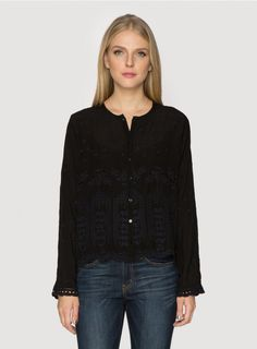 Johnny Was Collection Embroidered Rayon Georgette Marina Round Neck Button Down Blouse in Black