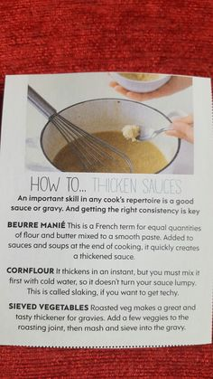 How to thicken sauces