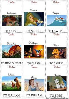 French language vocab cards with Disney princesses