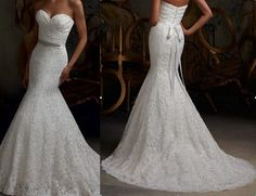 New white / ivory Lace Mermaid wedding dresses lace by VEILDRESS, $173.00