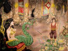 Shahmaran by bomgirl on DeviantArt Turkish Art, Economic Terms, Baboon, First Humans, Ancient Art, Fantasy Creatures, How To Fall Asleep, Medusa, Popular Culture
