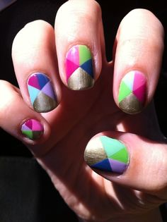 Cute geometrical nails. These look way too complex for me but they sure are adorable!