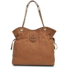 Tory Burch Marion tote ($290) ❤ liked on Polyvore featuring bags, handbags, tote bags, purses, bags 2, bags/clutches, purse tote, brown tote bag, tory burch handbags and leather handbag tote