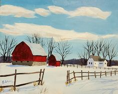 Etsy :: Your place to buy and sell all things handmade Red Barn Painting, Winter Painting, Farmhouse Paintings, Farm Paintings, Sunset Landscape, Landscape Art, Landscape Photography, Watercolor Sky, Watercolor Paintings