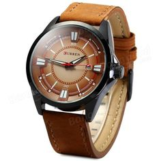 CURREN 8155 Date Display PU Leather Band Men Analog Quartz Wrist Watch at Banggood