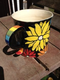 Handpainted Rainbow Flower Mug by DawnDavareDesigns on Etsy, SOLD