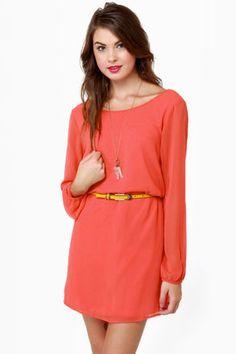 Beautiful Orange Dress-Shift Dress-Coral Dress
