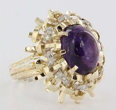 Vintage Estate Diamond Amethyst 14 Karat Yellow Gold Cocktail Ring Statement Heirloom Jewelry