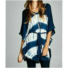 BOHO STYLE OVERSIZED TUNIC  New oversized tunic dress with fitted waistline. Embroidery detail on the front with fringe trim on the sleeves. Weekend Chic Host Pick ℹ100% RAYON ℹSize small, medium, or large ℹComment size and I will make you a new listing. 4 Bidden Boutique Tops Tunics