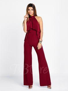Red Sleeveless Wide Leg Women's Jumpsuits - m.tbdress.com
