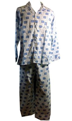 c10ce6eb4e37 Atomic Print Blue and White Mens Cotton Pajamas circa 1950s