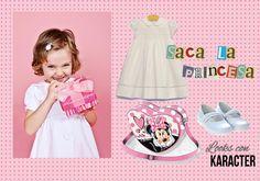 """Hoy os presentamos un total look infantil, ideal para que tu hija se sienta como una princesa. No olvides combinar un vestido blanco de algodón y unas manoletinas, con el bolso Corazón """"Music"""" de #Karactermania"""