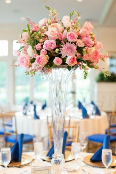 Tall wedding centerpiece idea - pink floral centerpiece with hyacinth, roses and dahlias in tall glass vessel {Candice Adelle Photography}