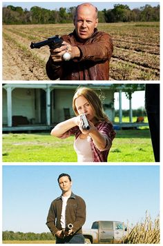 """Looper (2012) Bruce Willis (2074's Joe) , Emily Blunt (Sara) and Joseph Gordon-Levitt (2044's Joe)  Joe: """"Then I saw it, I saw a mom who would die for her son, a man who would kill for his wife, a boy, angry & alone, laid out in front of him the bad path. I saw it & the path was a circle, round & round. So I changed it"""""""