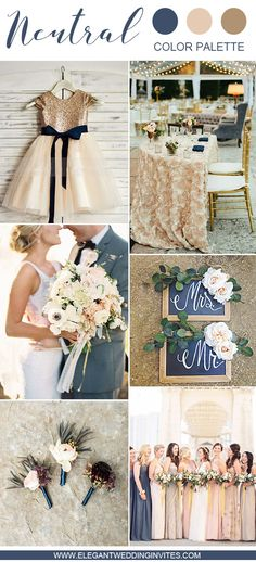 navy and champagne wedding party color ideas