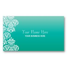 turquoise Gradient Damask Business Card