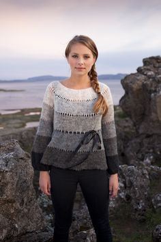 Fun ombre sweater with ribbon bows