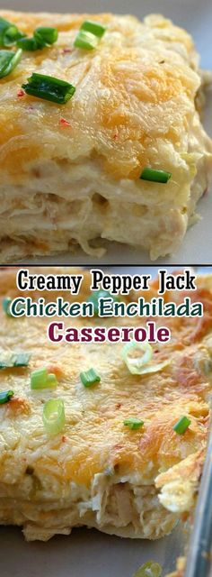 Innovation To Food: Creamy Pepper Jack Chicken Enchilada Casserole Mexican Dishes, Mexican Food Recipes, New Recipes, Cooking Recipes, Favorite Recipes, Recipies, Stuffed Food Recipes, Healthy Mexican Food, Candy Recipes