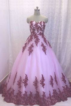 Charming Tulle Appliques Ball Gown Prom Dress, Formal Quinceanera Dress T677 by sweetdressy, $170.10 USD Ball Gowns Prom, Ball Gown Dresses, Evening Dresses, Prom Dresses, Wedding Dresses, Dresser, Formal Prom, Dress Formal, Pink Tulle