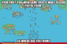 My first game was Crystal so......JOHTO!!!!!!!! My starter was Totodile. : )