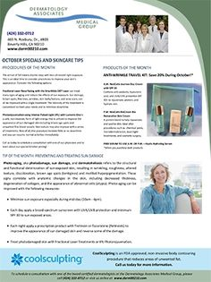 Derm90210 October Newsletter: Prevent & Treat Sun Damage; Save on anti-aging facial rejuvenation and resurfacing treatments; Save 20% on an anti-wrinkle travel kit during October