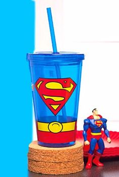 Superman Double Wall Travel Cup with Straw - Batman Cup - Officially Licensed #DCComics