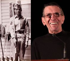 Leonard Nimoy. born in 1931 Boston, MA. 1953, enlisted U.S. Army. Assigned to Fort Ord, CA, Fort Benning, GA, and t Ft. McPherson in GA. Discharged in 1955 as a technician 3rd grade, equivalent to the WWII-era rank of staff sergeant. During his Army career, worked with the Army's Special Services, where he wrote, narrated and emceed shows. He also played a soldier in a film produced by the U.S. Navy on Combat Psychiatry during the Korean War. watch that video here: http://youtu.be/OPF-Tx1QmV...