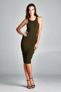 FITTED SEXY UTILITY RACER BACK DRESS BODYCON SLEEVELESS MIDI COTTON  S M L  #CHERISH #StretchBodycon #Casual