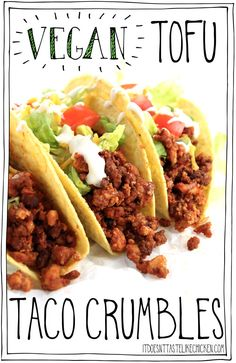These Vegan Tofu Taco Crumbles are chewy and perfectly spiced. Layer on a taco (… These Vegan Tofu Taco Crumbles are chewy and perfectly spiced. Layer on a taco (or burrito) with your favourite toppings for the ultimate vegan taco. Mexican Food Recipes, Whole Food Recipes, Cooking Recipes, Healthy Recipes, Tofu Dinner Recipes, Vegan Tofu Recipes, Firm Tofu Recipes, Tofu Meals, Tufu Recipes