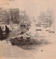 Blizzard of 1978. Wheeling Avenue. The SOHIO sign on the left is where Hartley's STARFIRE station sits today.