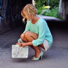 gorgeous colors on this sweater and these metallic cap toe stilettos