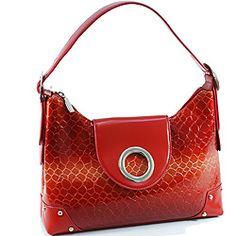 56ffaee5ac Vani Shiny Red Leatherette Embossed Croco Shoulder Bag Red Shoulder Bags