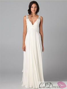 Fashion A-line V-neck Beading Sleeveless Floor-length Chiffon Dress - CDdress.com