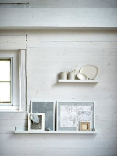 MOSSLANDA Picture ledge - white - IKEA ledge for under my large bedroom window, makeup etc could go on it. Glass Wall Shelves, Display Shelves, Floating Shelves, Ikea Mosslanda, Mosslanda Picture Ledge, Collage Mural, Photo Ledge, Narrow Cabinet, Diy Home Accessories