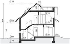 Przekrój Dom przy Alabastrowej 6 CE Model House Plan, House Plans, 100 M2, Study Office, Design Case, Aquaponics, Modern House Design, Home Projects, Future House