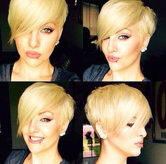 Styled pixie with long, side swept bangs